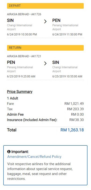 Flight Journey And Payment Details
