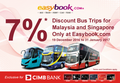 Get 7% Off on Your Bus Ticket Booking! For CIMB Bank Cardholders