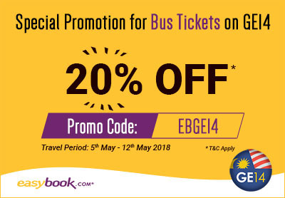 Enjoy 20% Off Bus Tickets to Travel Home for GE14