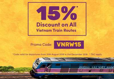 15% Discount for all train routes in Vietnam
