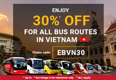 Limited time offer! 30% Discount for all bus routes in Vietnam